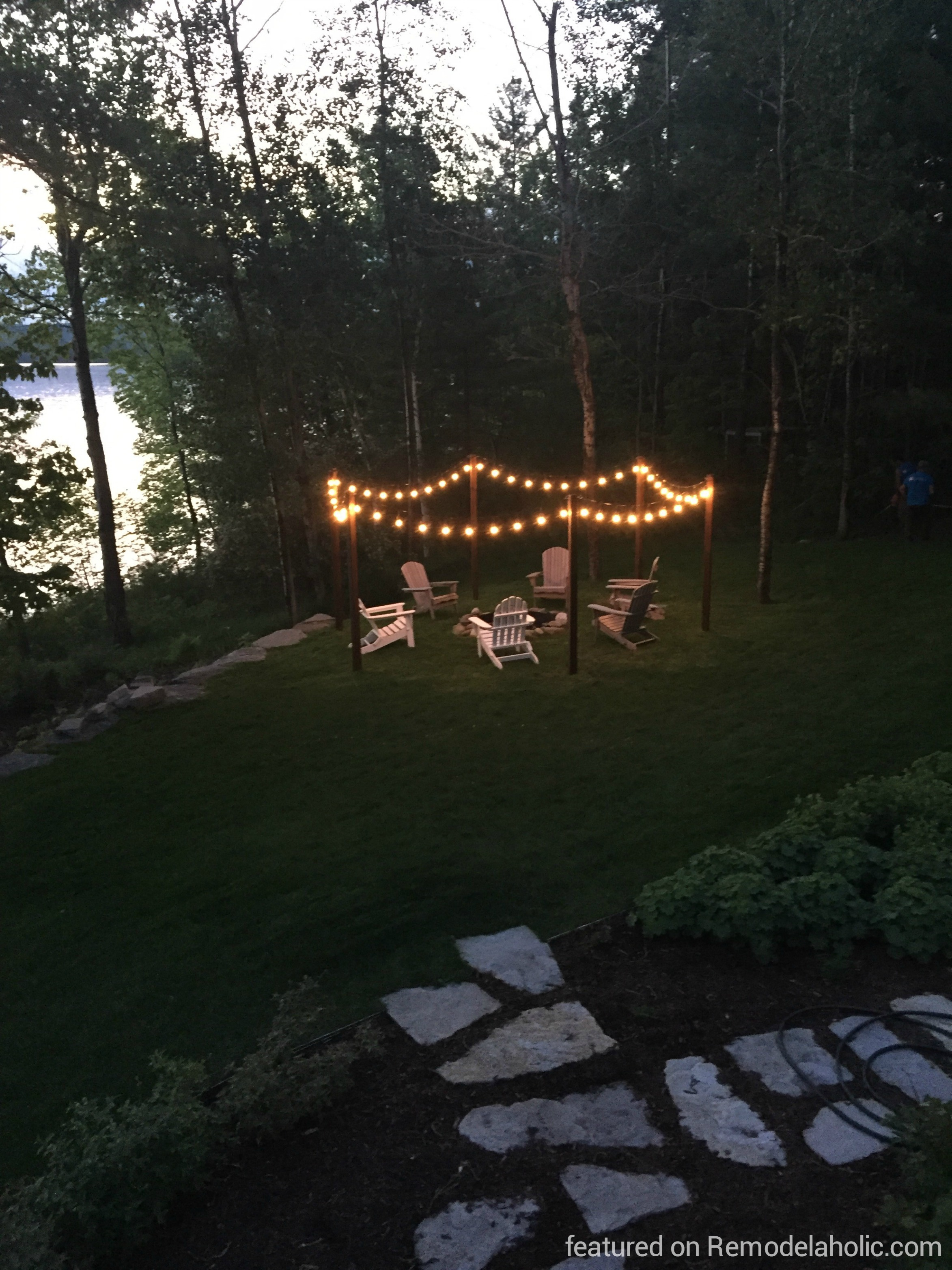 String Lights Outdoor Pole : Remodelaholic Easy DIY Outdoor Lighting Around a Fire Pit