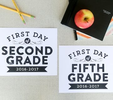 Printable First Day of School Signs (Updated for 2016-2017)