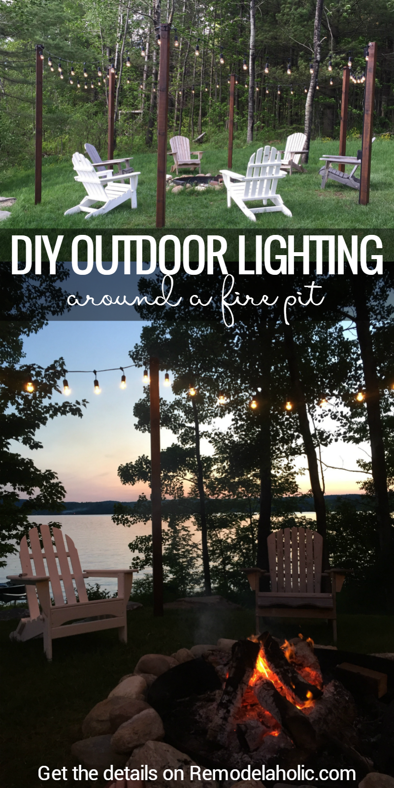 remodelaholic easy diy outdoor lighting around a fire pit