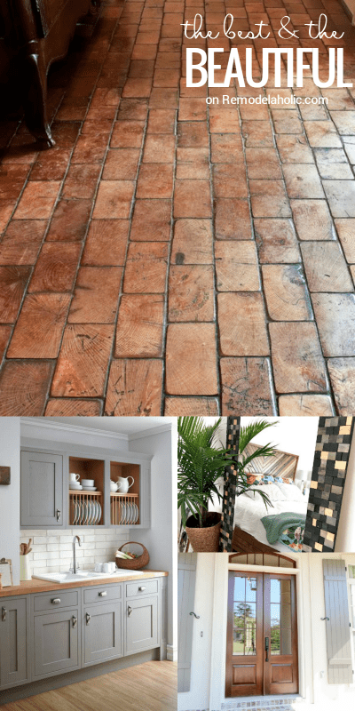 Friday Favorites - wood block floors, farmhouse style pantry and decor ideas, two tone gray and wood kitchen and more @Remodelaholic