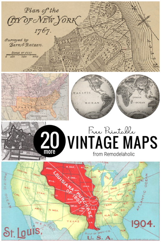 Printable Vintage Maps For Free, A Collection From Remodelaholic