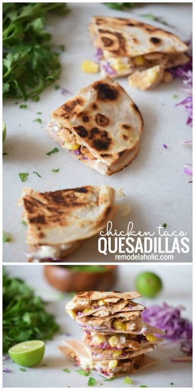Simple dinner idea chicken taco quesadillas via remodelaholic.com