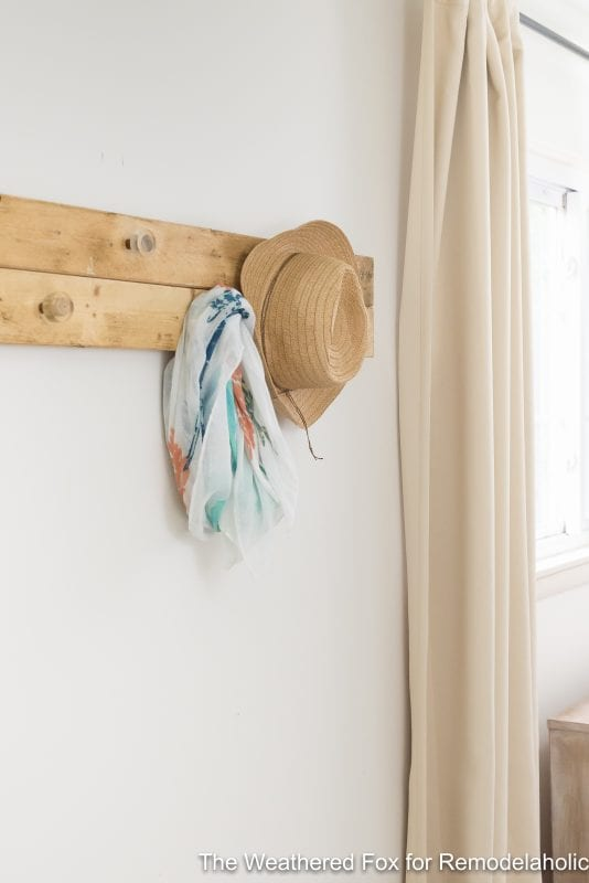 The Weathered Fox Farmhouse Wall Rack. Rustic wall organizer for bedroom. Keep the clutter off the floor