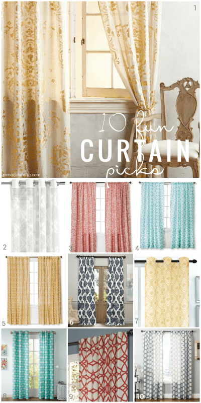 These colorful patterned curtain picks are great for dressing windows, adding privacy to a reading nook, or replacing doors on a closet @Remodelaholic