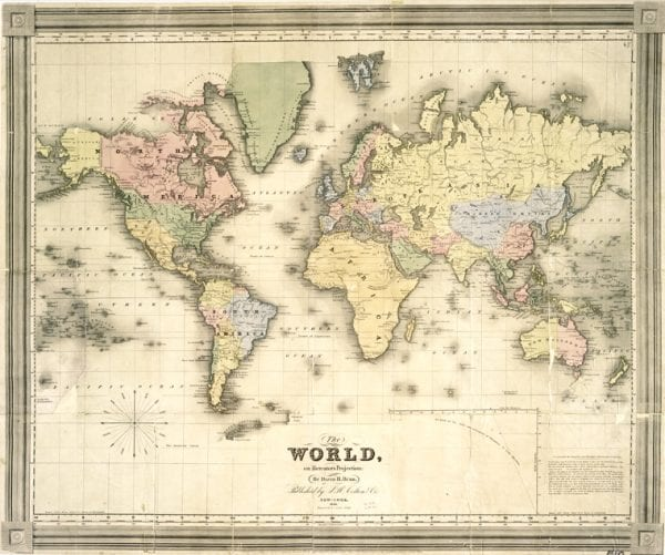Lively image with vintage map printable