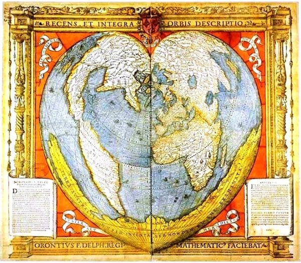 vintage map of the earth in heart-shape via Remodelaholic