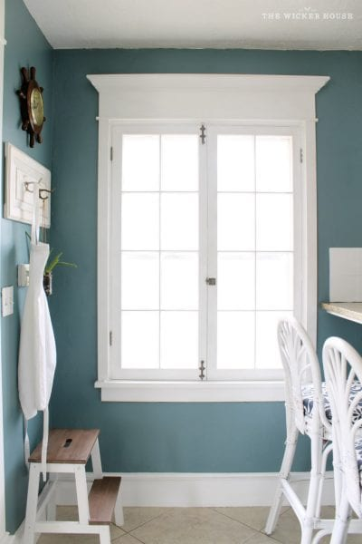 Wall color is Aegean Teal by Benjamin Moore. Color Spotlight on Remodelaholic. Image Via The Wicker House