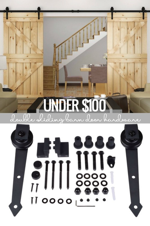 budget friendly double sliding barn door hardware @Remodelaholic