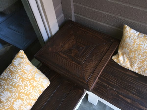 built-in end table on a corner bench DIY tutorial, Pinspiration Mommy featured on @Remodelaholic