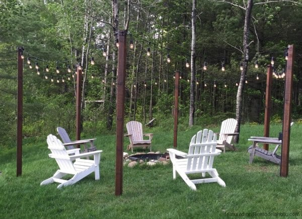 Add string lights to a fire pit for extra light and ambience