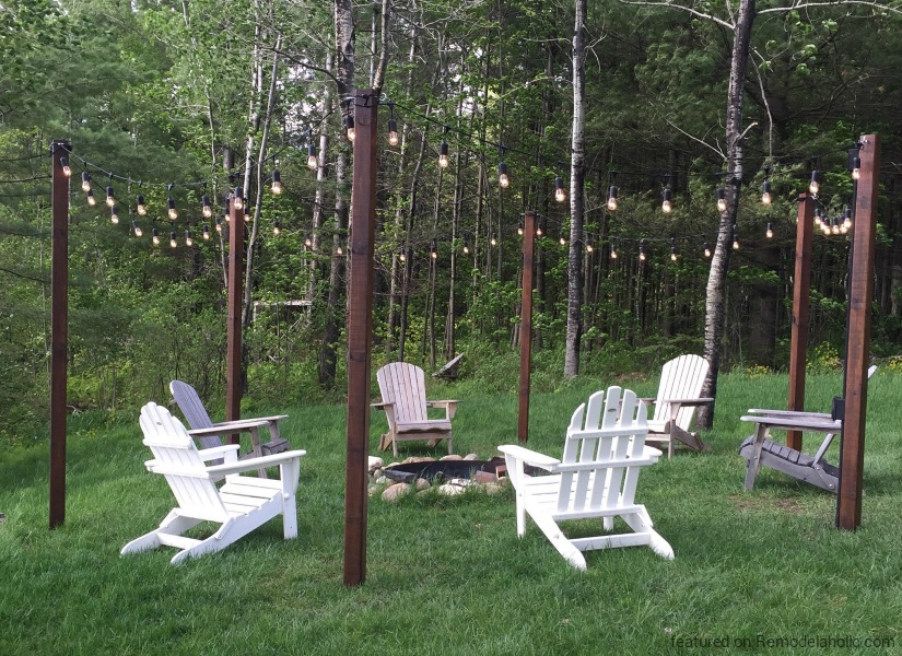 String Light Posts Delectable Remodelaholic Easy DIY Outdoor Lighting Around A Fire Pit