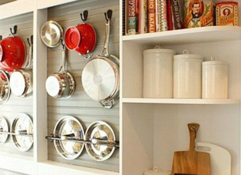Remodelaholic Diy Wall Mounted Pot Rack From A Shallow