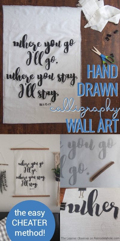 No more empty walls! Turn some things you have around the house into this DIY handpainted calligraphy art wall hanging -- no art skills required!