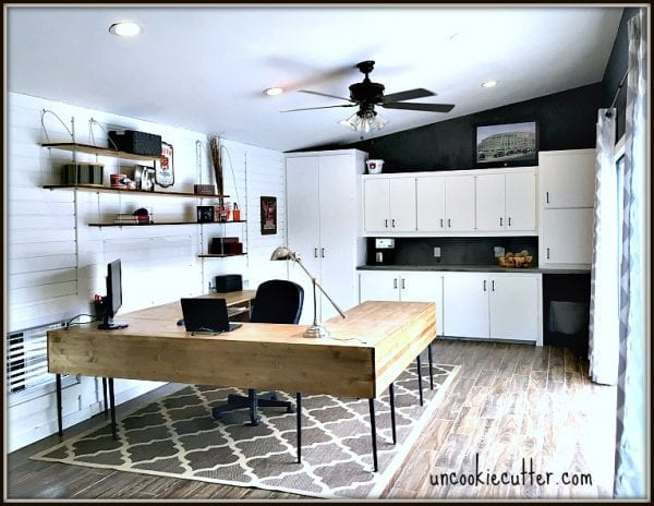 home office makeover with shiplap walls, open shelving, and a DIY U-shaped desk, Uncookie Cutter