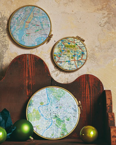maps-in-hoops for wall decor