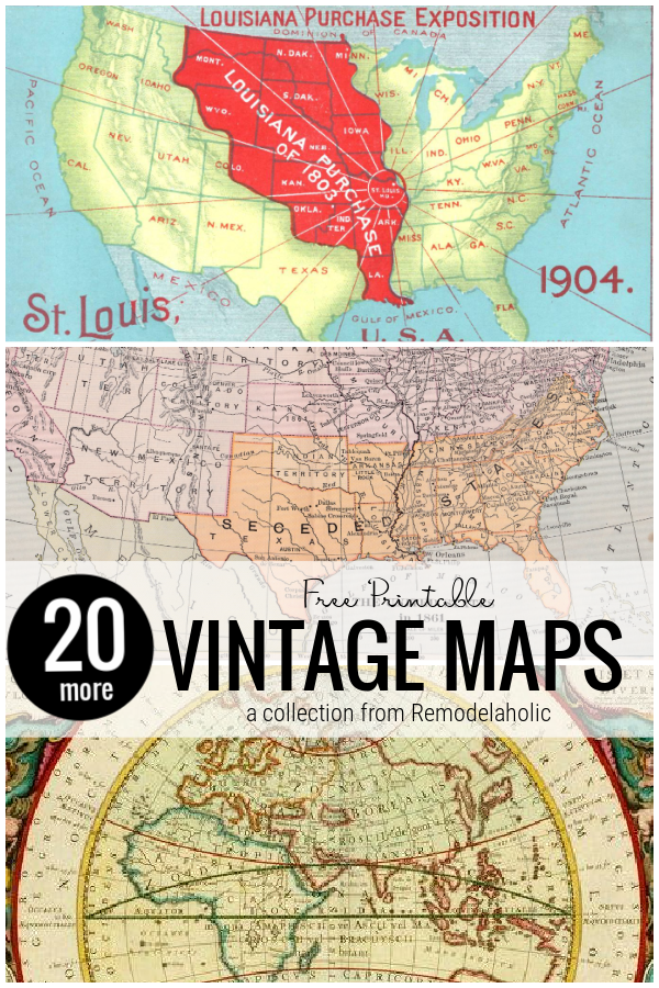 Nyomtatható vintage térképek barkácsolási lakberendezéshez, Remodelaholic gyűjteménye
