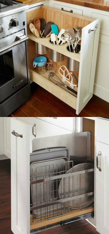 pull-out organizers for utensils and baking sheets