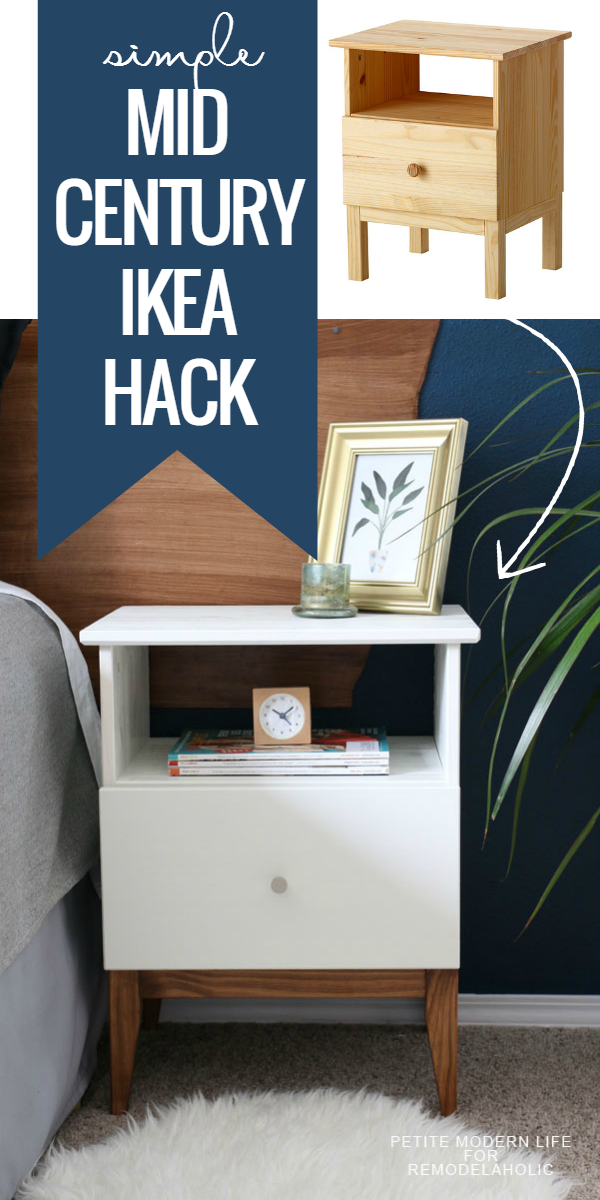 Remodelaholic easy mid century ikea tarva nightstand hack for Ikea platform bed with nightstands
