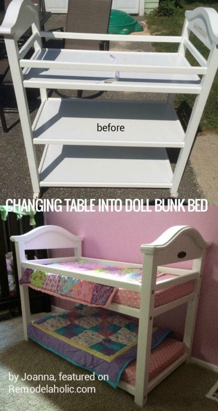 upcycle an old changing table into a doll bunk bed, cheap and easy @Remodelaholic