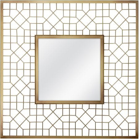 "20"" Gold Geometric Square Mirror"