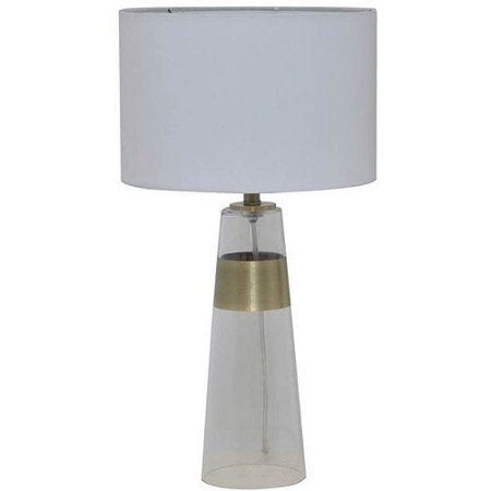 "22"" Bronze Metal and Glass Table Lamp"