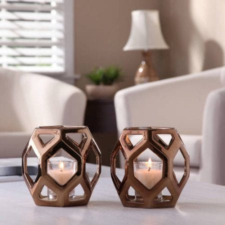 Bronze Geometric Votive in Bronze - Set of 2