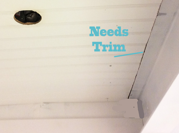 DIY Beadboard Ceiling Needs Trim