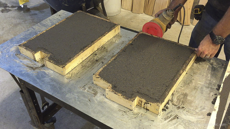how to pour concrete bench legs and sides for a redwood bench seat