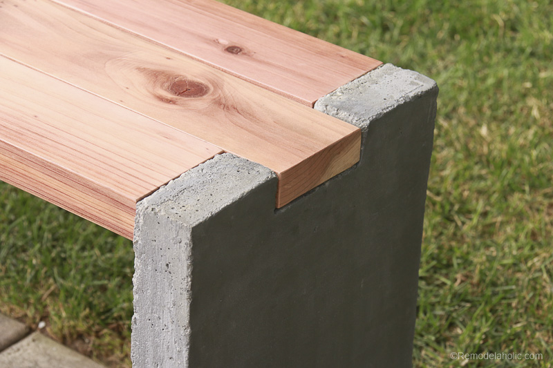Modern DIY Outdoor Redwood Bench with Concrete Legs - Video Tutorial and Plans
