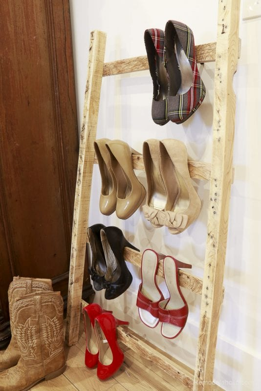 Ladder Decor Idea: Use a Pallet Wood Blanket Ladder to Store Shoes