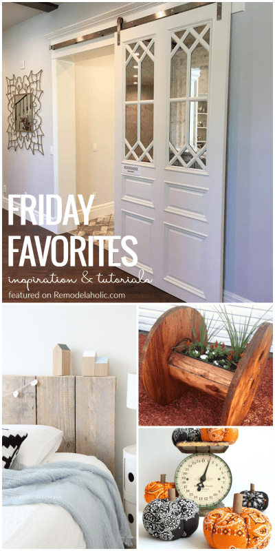 Our favorites this week: a beautiful rolling barn door, DIY pumpkins for decor indoors and out, upcycled cable spools, and more pretty inspiration! @Remodelaholic