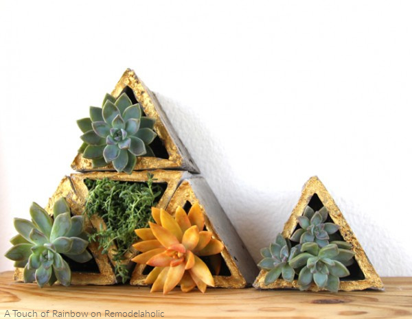 Geometric Concrete Planters By A Touch Of Rainbow On Remodelaholic