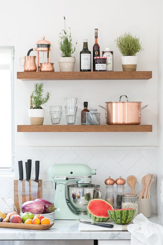Remodelaholic mint and copper kitchen inspiration - Kitchen with copper accents ...
