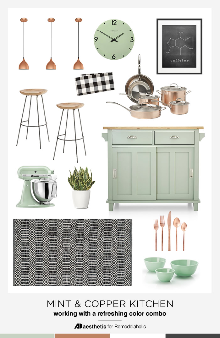 Create a beautiful, modern and fresh mint and copper kitchen with tips, inspiration, and product picks from AD Aesthetic on Remodelaholic.com
