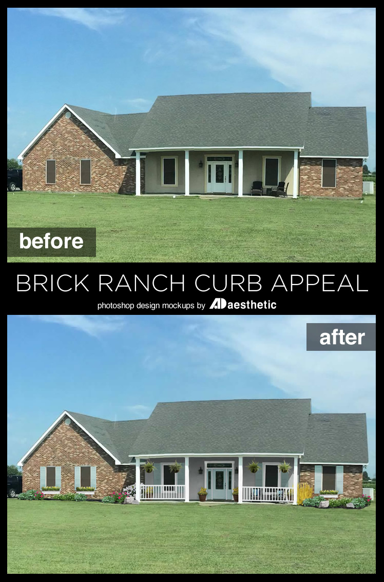 Remodelaholic adding curb appeal the blank slate brick for How to build a ranch house