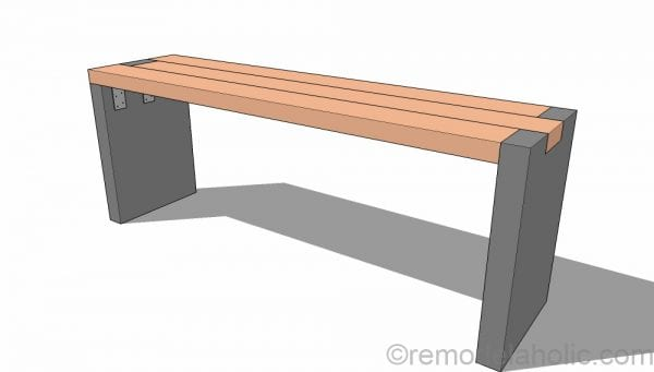 Modern DIY Concrete Bench with Redwood Bench Seat - Video Tutorial and Building Plans