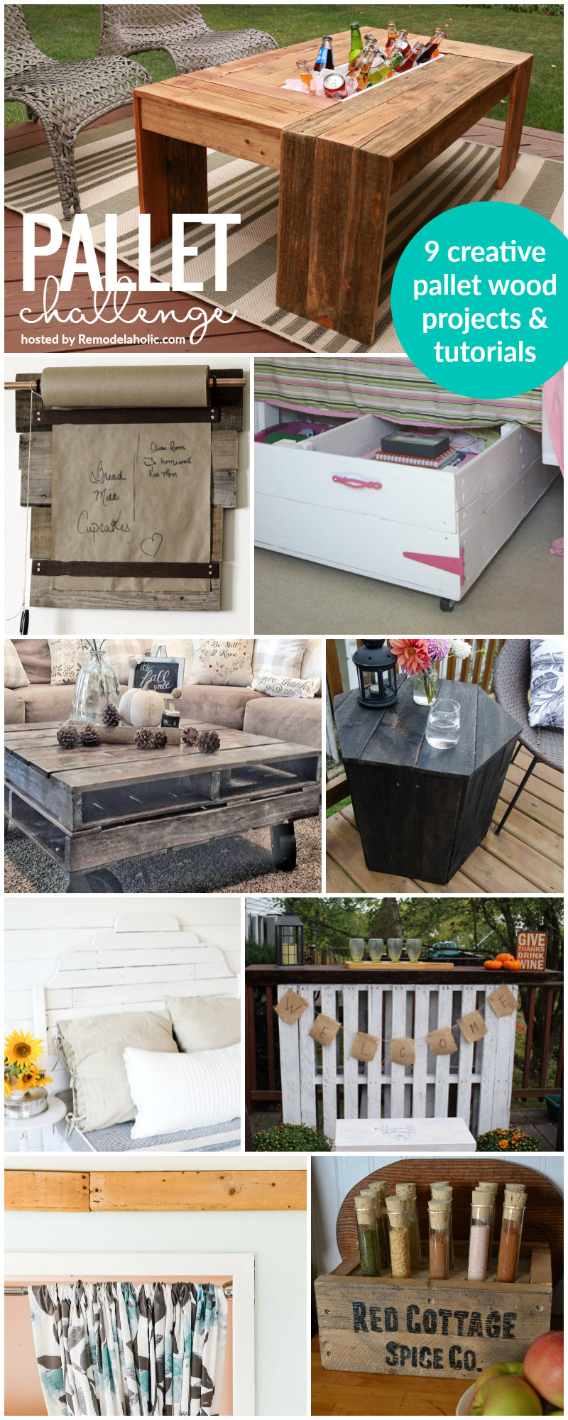 The Pallet Challenge: 9 creative DIY pallet projects with FULL tutorials. Includes an outdoor coffee table with drink cooler, memo board, storage, headboard, and more.