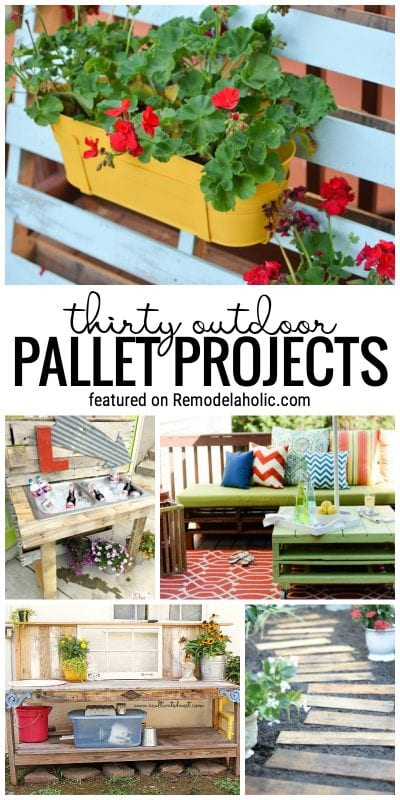 Pallets are a great way to start a project for your yard or garden! Try one of these outdoor pallet projects. Featured on Remodelaholic.com
