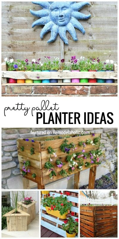 Pallets are a great way to start a project for your yard or garden! Try one of these outdoor pallet projects and pallet planters. Featured on Remodelaholic.com