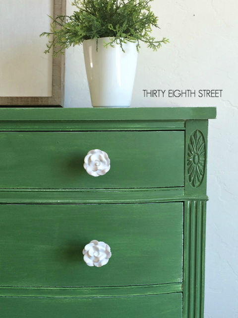 Tavern Green Milk Paint Dresser with Rose Knobs, Thirty Eighth Street