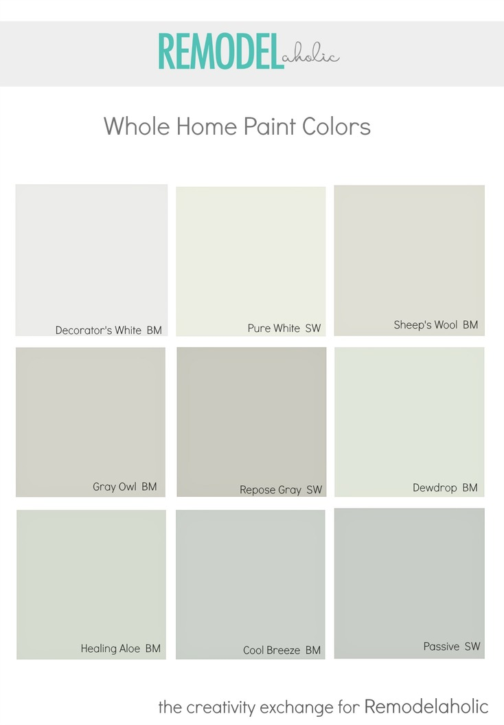 Remodelaholic choosing a whole home paint color for Paint color palette