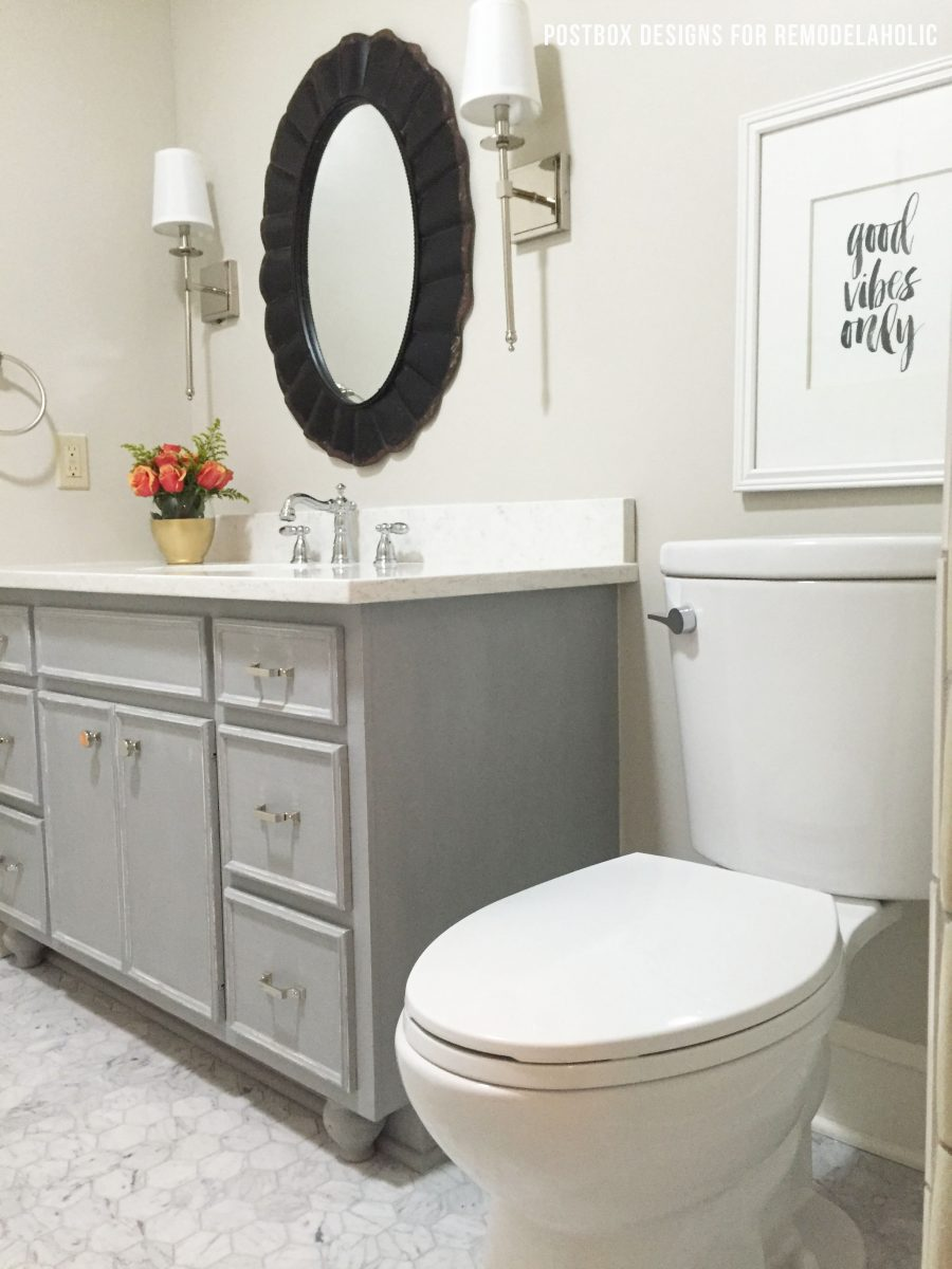 How to paint bathroom cabinets - Bath Makeover Using Chalk Paint To Update A Vanity Remodelaholic