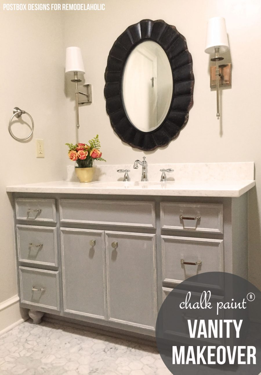 Lovely Bath Makeover Using Chalk Paint® To Update A Vanity @remodelaholic