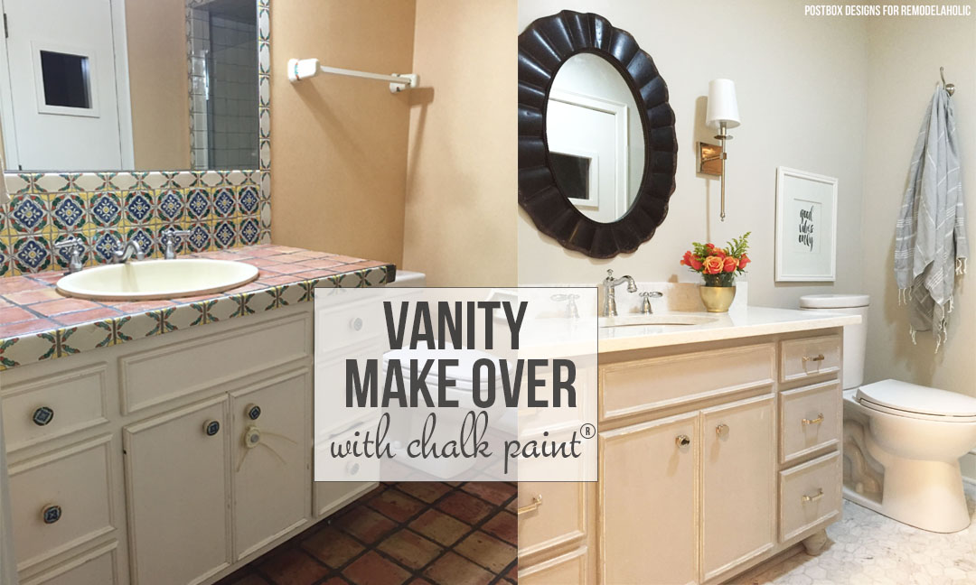 whole bathroom makeover and new painted vanity using chalk paint on remodelaholic - Bathroom Cabinets Before And After