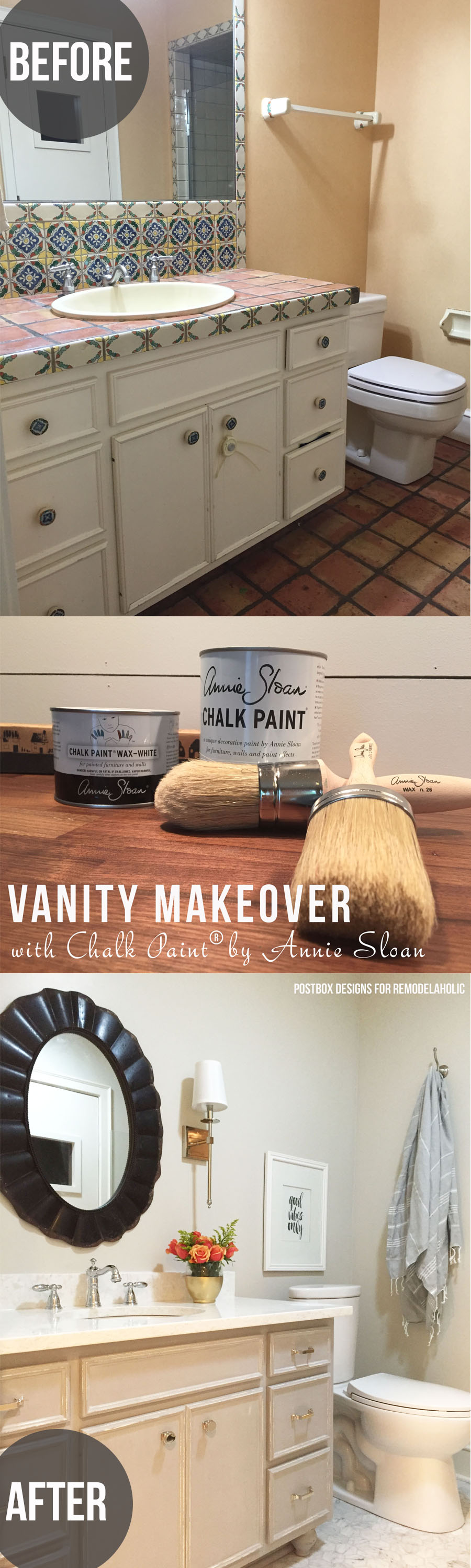 Beautiful! Bath makeover using Chalk Paint® to update a vanity, no sanding or priming and easy! by Postbox Designs for @Remodelaholic