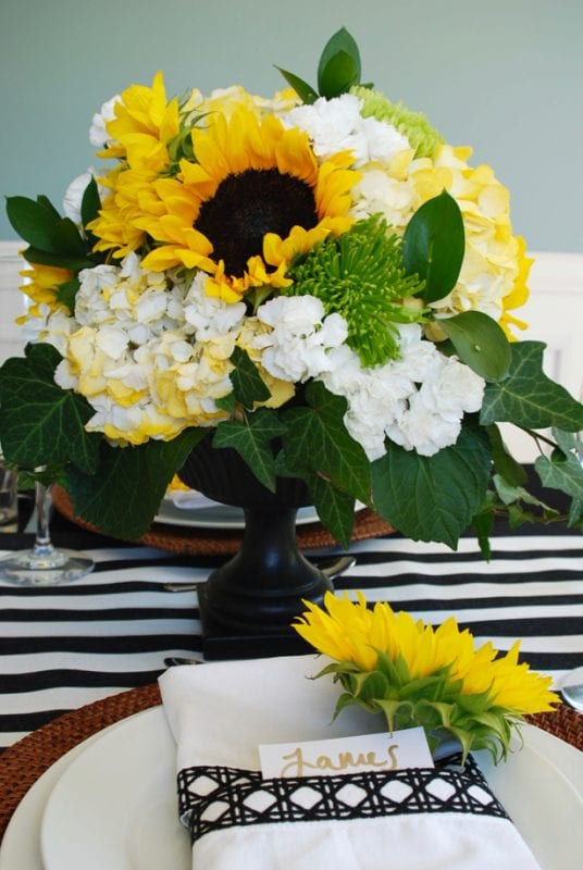 black-and-white-sunflower-table-setting-for-fall-pender-and-peony