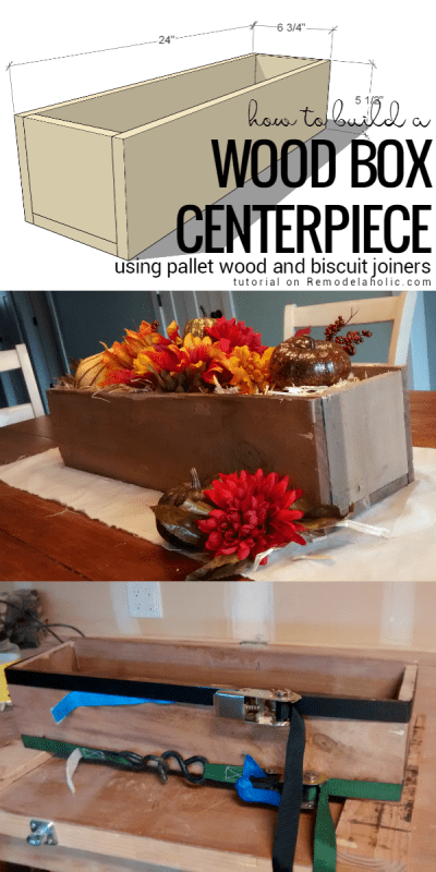 Remodelaholic easy diy rustic pallet wood box centerpiece