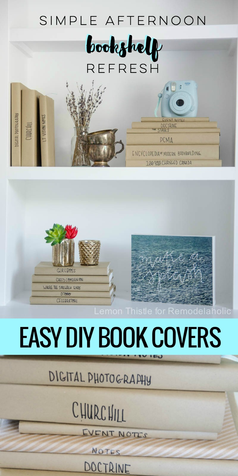 Paper Book Cover Diy : Remodelaholic afternoon bookshelf refresh with diy paper