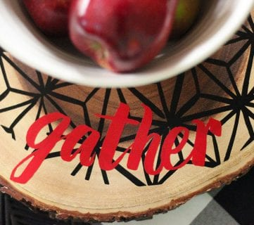 Modern Wood Trivet with Vinyl for a Holiday Table Setting