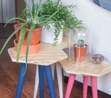 DIY Hexagon Stool or Side Table Using Thrifted Legs